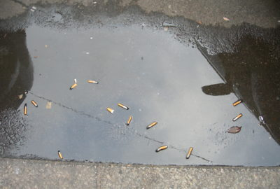 Zigarettenkippen in einer Pfütze | Cigarette butts in a puddle